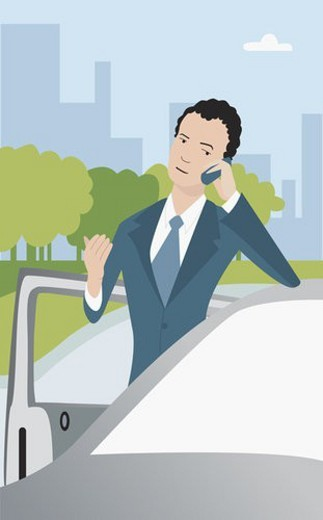 Close-up of a businessman using a mobile phone and leaning on a car : Stock Photo