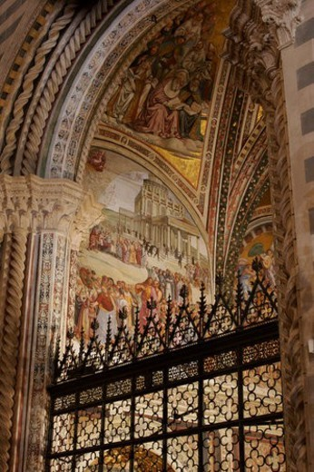 Stock Photo: 4029R-133797 View upwards of Chapel of Last Judgement by Luca Signorelli, with ornate wrought iron railing in foreground