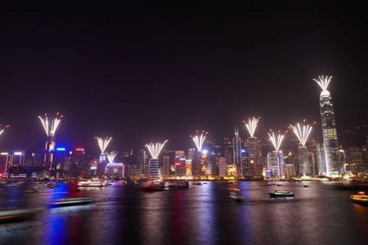 2007 New Years Eve Fireworks Celebration, Hong Kong, Hong Kong Island skyline at night : Stock Photo