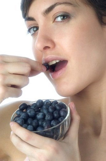 Woman, Brown Hair, Beauty, White undershit, Eating, Fruit, Blueberry : Stock Photo
