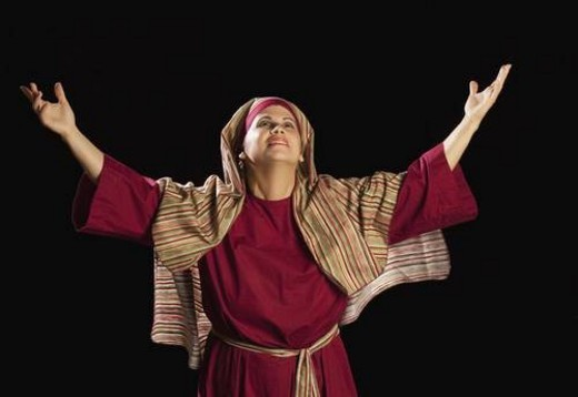 Stock Photo: 4029R-135676 woman dressed as mary, mother of jesus