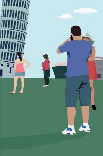 Stock Photo: 4029R-136895 Tourists standing at Leaning Tower of Pisa, Tuscany Italy