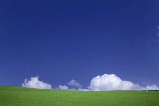 Wide open green field. Hokkaido,  Japan : Stock Photo