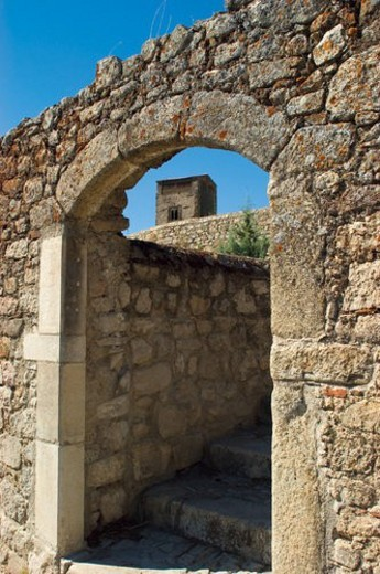 Spain, Extremadura, Caceres, Trujillo, Architecture, Arch, Exterior : Stock Photo