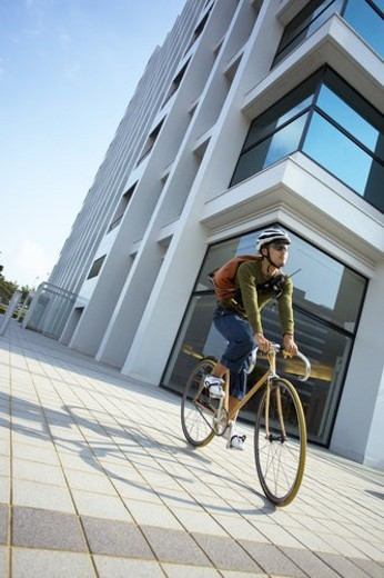 Stock Photo: 4029R-139624 The Messenger Who Rides On A Bicycle