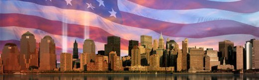 Manhattan skyline, World Trade Center Light Memorial,  American flag : Stock Photo