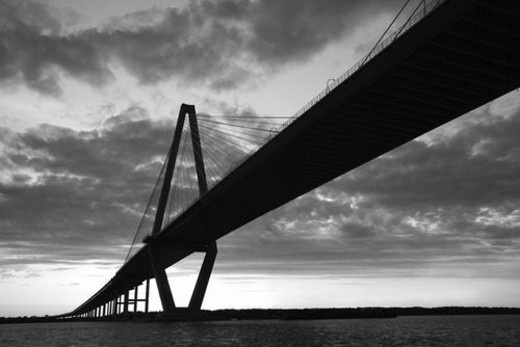 Stock Photo: 4029R-1408 Cooper River Bridge in Charleston, South Carolina.