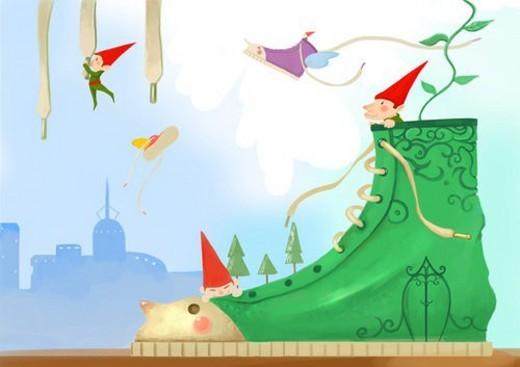 imagination, pygmy, footwear, fantasy, background : Stock Photo