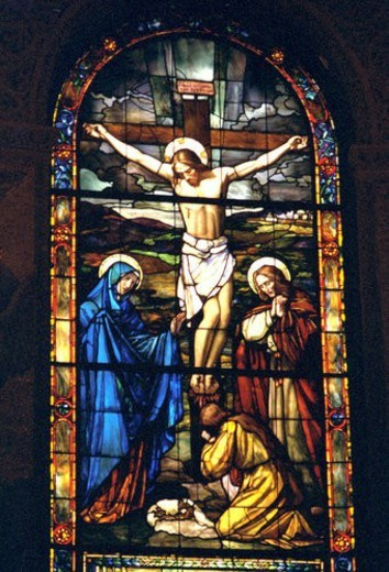 Crucifixion of Jesus depicted on stained glass : Stock Photo