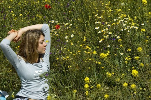 Woman, Young, Nature, Country, Flowers, Country of flowers, Yellow : Stock Photo