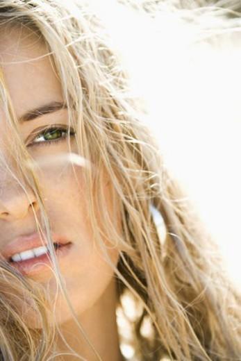 Close up headshot of pretty blond Caucasian woman. : Stock Photo