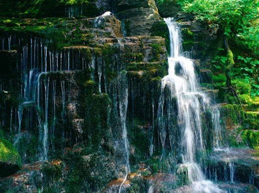 Stock Photo: 4029R-143559 landscape, scenery, waterfall, valley, mountain, season, nature