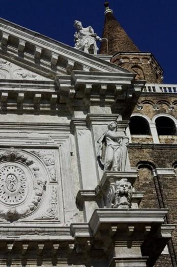 Facade of San Mois Church , baroque ornamentation : Stock Photo