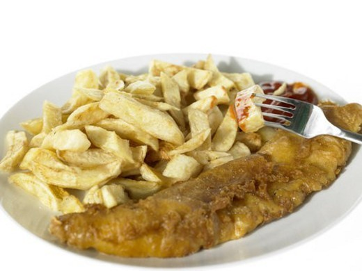 Stock Photo: 4029R-145522 Plate of Fish and Chips