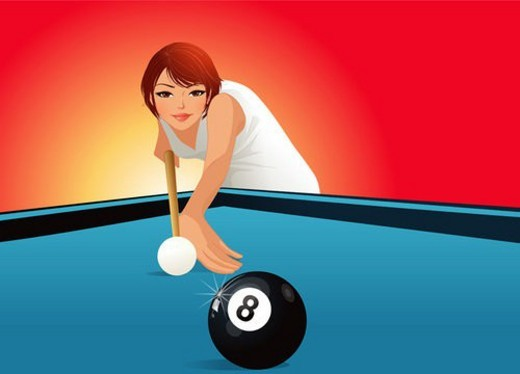 Stock Photo: 4029R-145869 one person, cue, person, people, billiard balls, billiard table