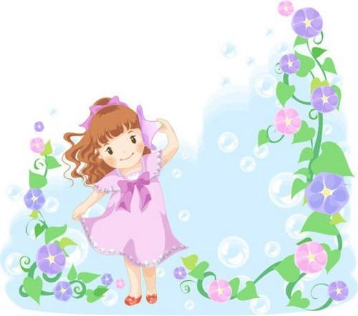 morning glory, kid, flower, holding, girl, listening, child : Stock Photo