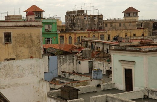 High angle view of a dilapidated housing complex, Havana, Cuba : Stock Photo