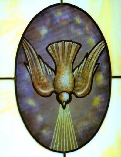 Stock Photo: 4029R-147619 Descending dove of Pentecost in stain glass window