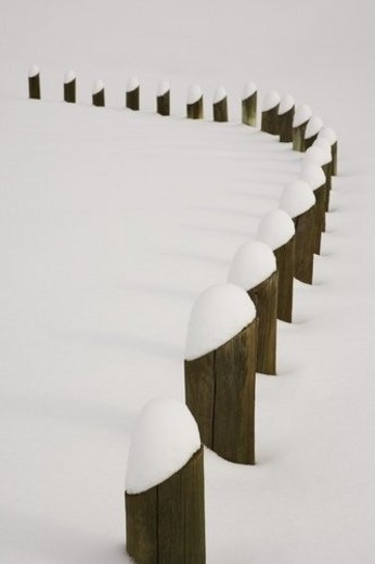 Posts covered with freshly fallen snow : Stock Photo
