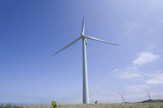 Wind turbine in Tomamae-machi,  Hokkaido,  Japan : Stock Photo