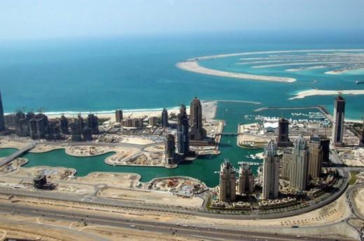 Stock Photo: 4029R-153316 dubai, aerial, dubai, marina, port, plaisance, towers