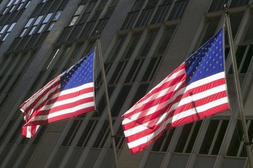 Two American flags : Stock Photo