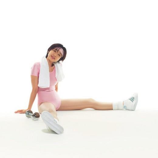 A woman in Leotard having a break, Side View, Copy Space : Stock Photo