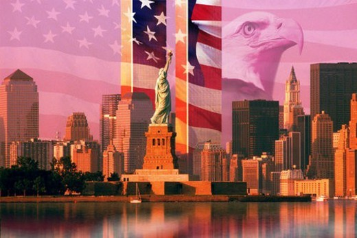 Photo montage: American flag and eagle, World Trade Center, Statue of Liberty : Stock Photo