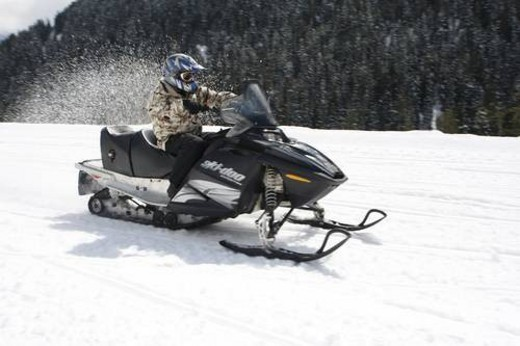 Stock Photo: 4029R-158663 snowmobile adventure tour in Whistler British Columbia