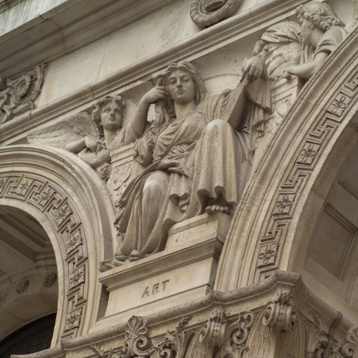 Stone carvings on a building in London, England : Stock Photo