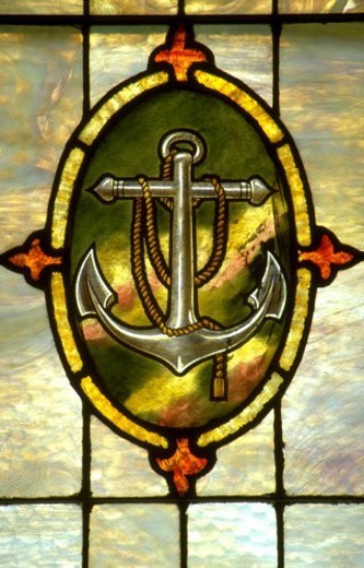 Stock Photo: 4029R-159874 Anchor and rope on stained glass. Minneapolis Minnesota USA