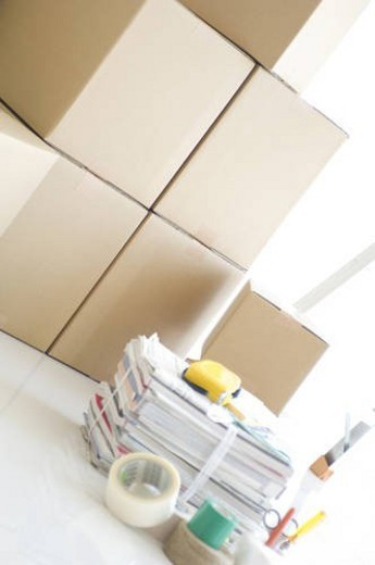 Stock Photo: 4029R-160414 Stack of cardboard boxes and packaging items
