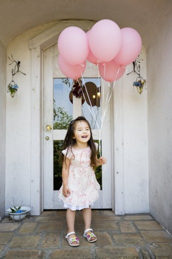 A Girl With A Balloon : Stock Photo