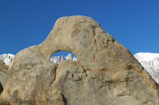 Stock Photo: 4029R-161396 The Alabama Hills hole in rock