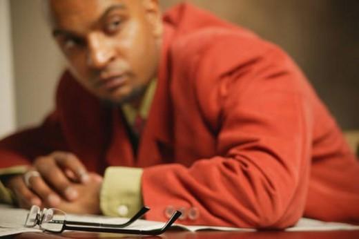 Businessman feels stress : Stock Photo