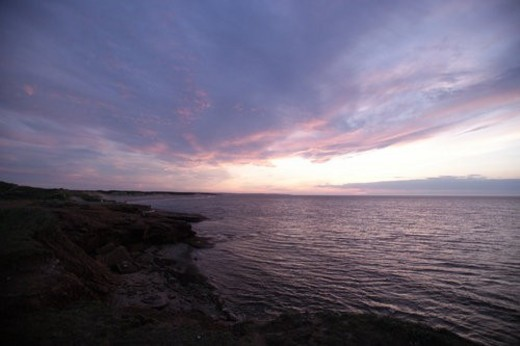 Stock Photo: 4029R-16254 Sunset over the coast in Prince Edward Island, Canada