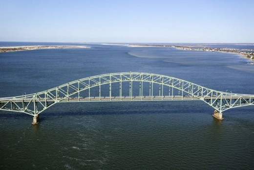 Aerial view of Robert Moses Causeway bridge in New York. : Stock Photo