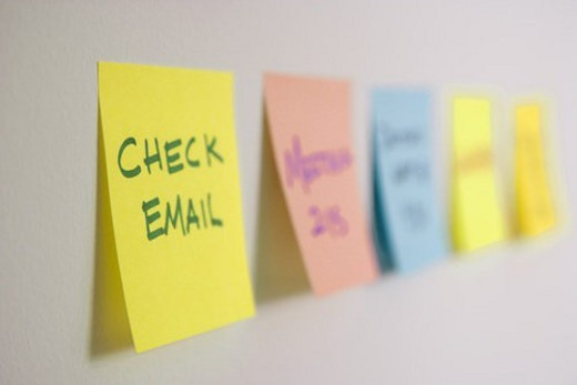 Sticky notes of to do list on wall. : Stock Photo