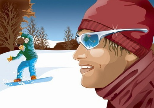 Stock Photo: 4029R-16382 Man in foreground with man in background trying to ski