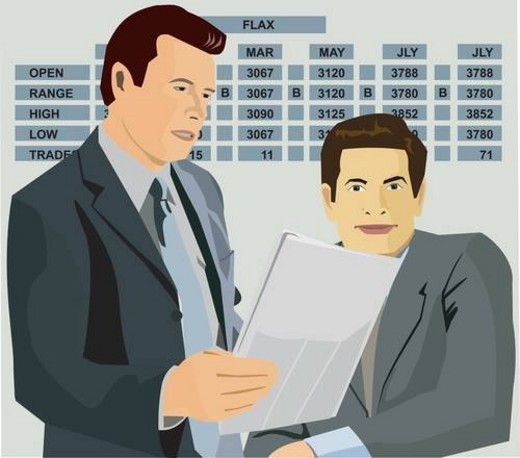 Stockbrokers with chart behind : Stock Photo