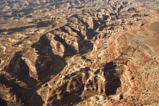 Stock Photo: 4029R-164856 Aerial view of gorge in Canyonlands National park, Utah.