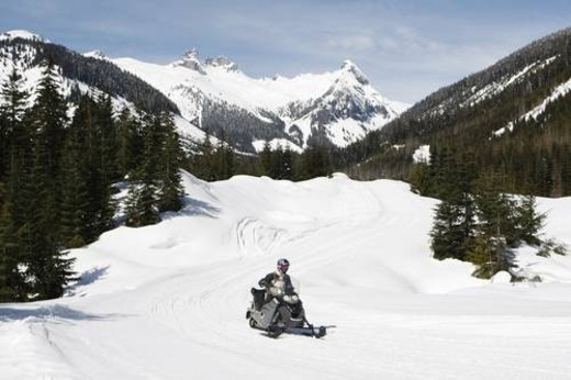 Stock Photo: 4029R-165847 snowmobile adventure tour in Whistler British Columbia