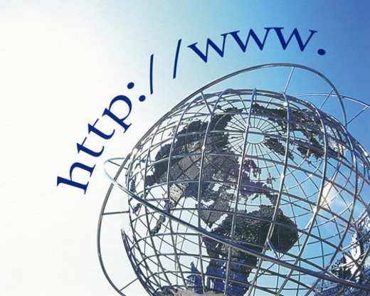 Big globe under blue sky, with image of web address, CG, composition, low angle view : Stock Photo