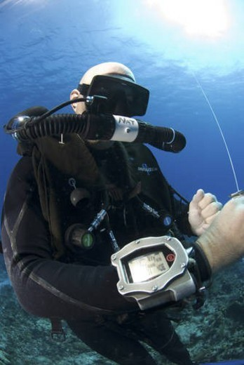 Stock Photo: 4029R-1671 Technical Divers using Trimix, Rebreathers and technical diving equipment, Divetech, Grand Cayman, Cayman Islands, Caribbean