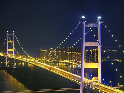Stock Photo: 4029R-16746 Night scene of bridge,Hong Kong