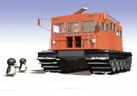 Stock Photo: 4029R-168266 Image of an Orange-colored Snow Vehicle and Two Penguins on the Side, Low Angle View, Side View, Illustration