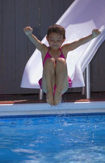 girl on waterslide : Stock Photo