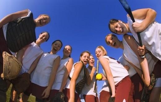 Girls Baseball Team : Stock Photo