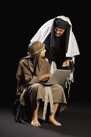 young jesus and a high priest : Stock Photo