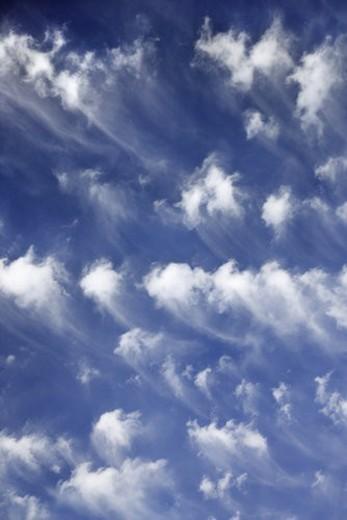 Stock Photo: 4029R-17040 Blue sky and clouds over Maui, Hawaii, USA.